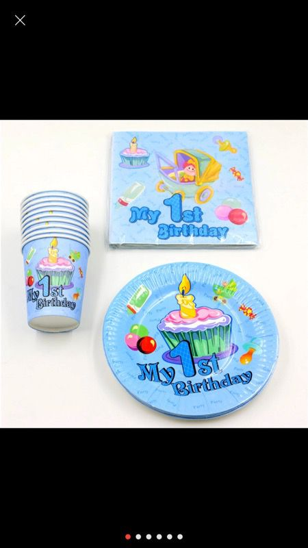 First birthday cups, plates and napkins