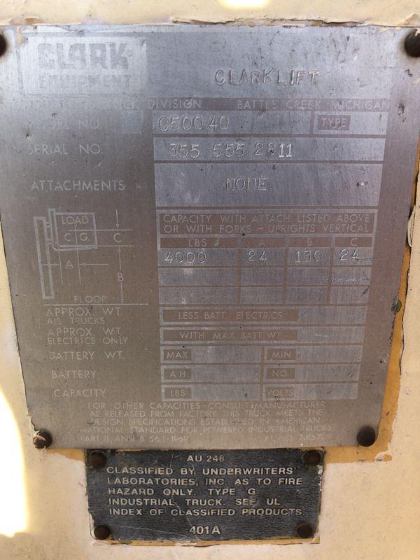 Clark 4000lbs propane forklift