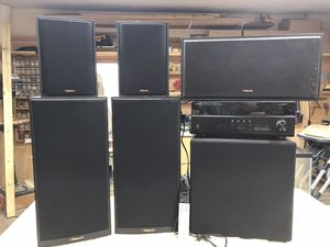 Yamaha stereo system with klipsch speakers with powered sub woofer for Sale in McKinney, TX