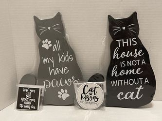 All my kids have paws & This house is not a home without a cat cutout signs & 2 magnets for Sale in Albany,  OR