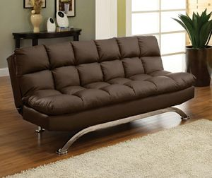 Dark brown pillowtop adjustable futon sofa bed couch/No Credit Needed No Credit Check Apply Today for Sale in Downey, CA