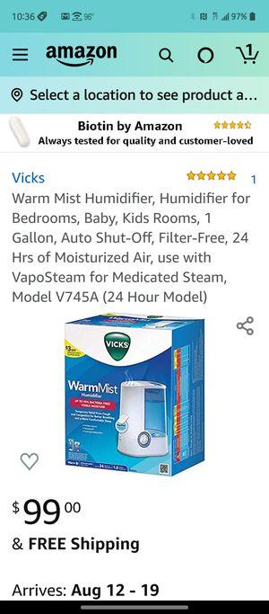 Vicks warm mist humidifier five star for Sale in Las Vegas, NV