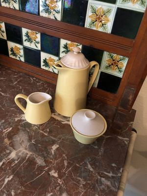 Antique yellow & white coffee set for Sale in Huffman, TX