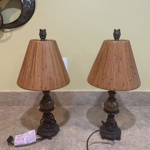 Antique Real wood lamps with hand painted details for Sale in Canton, MI