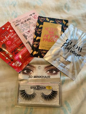 4 Victoria's Secret face masks & one pair of Mink eyelashes for Sale in Houston, TX