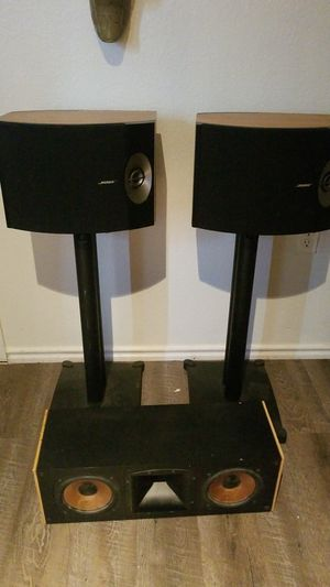 Bose 301 v speaker set with stands and a klipsch RC3 center chanel for Sale in Austin, TX