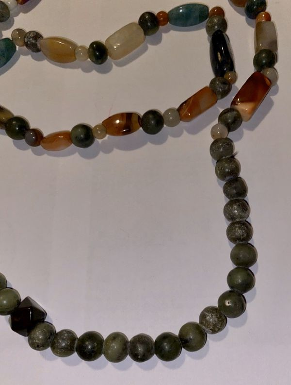 Real Gem Stone Long Necklace