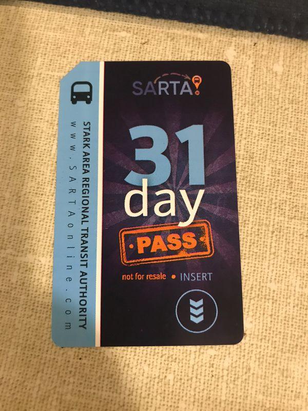 SARTA 31 day bus pass