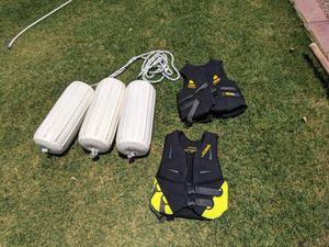 Large boat fenders & 2 Jobe neoprene life vests for Sale in Mesa, AZ