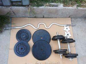SET CURL BAR & DUMBELLS. for Sale in Norwalk, CA