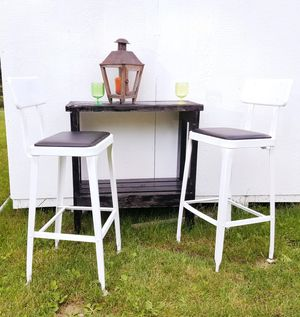 White Enamel Industry West Patio Stools and Rustic Black Wood Bar for Sale in Snohomish, WA