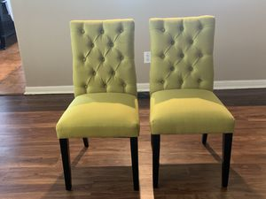 2 lime green chairs - black wooden legs for Sale in Cedar Park, TX