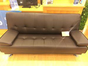 Dark Brown Bonded Leather Futon Sofa for Sale in Dallas, TX