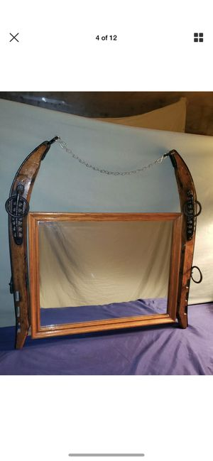 Vintage antique shabby horse hames hanging mirror for Sale in Highland Charter Township, MI