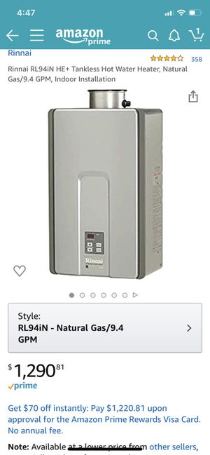 Rinnai RL94iN HE+ Tankless Hot Water Heater, Natural Gas/9.4 GPM, Indoor Installation, 3+showers for Sale in Las Vegas, NV