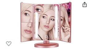 Vanity Makeup Mirror Trifold Natural LED Lighted, 2x/3x/10x Magnification 4 Panels and USB Charging/Battery Operated, 180° Adjustable Stand Counterto for Sale in Irwindale, CA