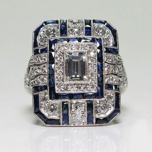 Art Deco White and Blue Sapphire Statement Ring Size 6 - 10 *See My Other 300 Items* for Sale in Palm Beach Gardens, FL