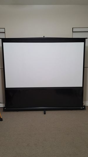 "100"" projector screen (Elite Screens) and projector stand for Sale in Madera, CA"