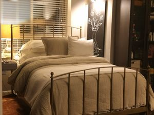 Crate & Barrel Mason Brass Full Bed With Sheets Pillows Mattress and Box Spring for Sale in Washington, DC