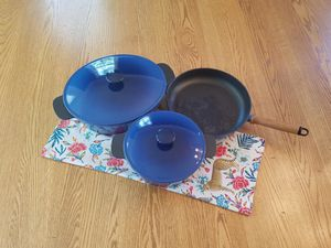 Set of Blue Cast Iron Casserole Dishes and Frying Pan for Sale in Glen Mills, PA