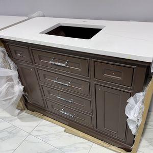 "48"" York Single Sink Bathroom Vanity Cabinet Espresso With White Quartz Top for Sale in Fairfax, VA"