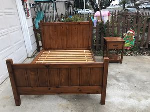 Pottery Barn full size camp bed frame with night stand for Sale in Rancho Cordova, CA