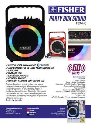 FISHER FBX440K high fidelity Bluetooth speaker, microphone enabled, radio FM for Sale in Miami, FL