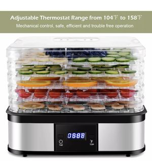 Food Dehydrator Preserver 5 Tray Fruit Vegetable Dryer Timer Temperature Control for Sale in Houston, TX
