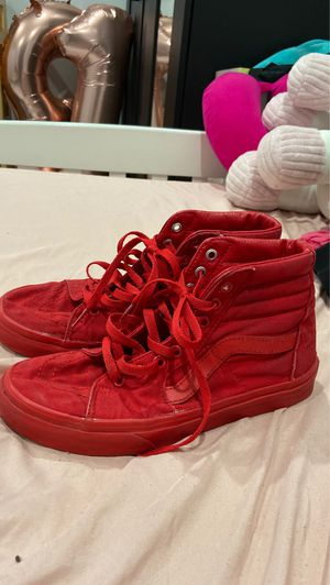 All red high top Vans ,men:6.5, women:8, ☺️I can lower the price I u want!?I am still awake so if u want to tell me sum I am up!it's 11:16 for Sale in Lake View Terrace, CA