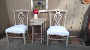 Antique Pair Hand Georgian Chippendale Painted Chairs for Sale in San Diego, CA