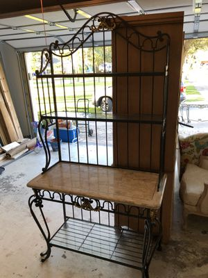 Iron, glass & marble bakers rack for Sale in Lake Worth, FL