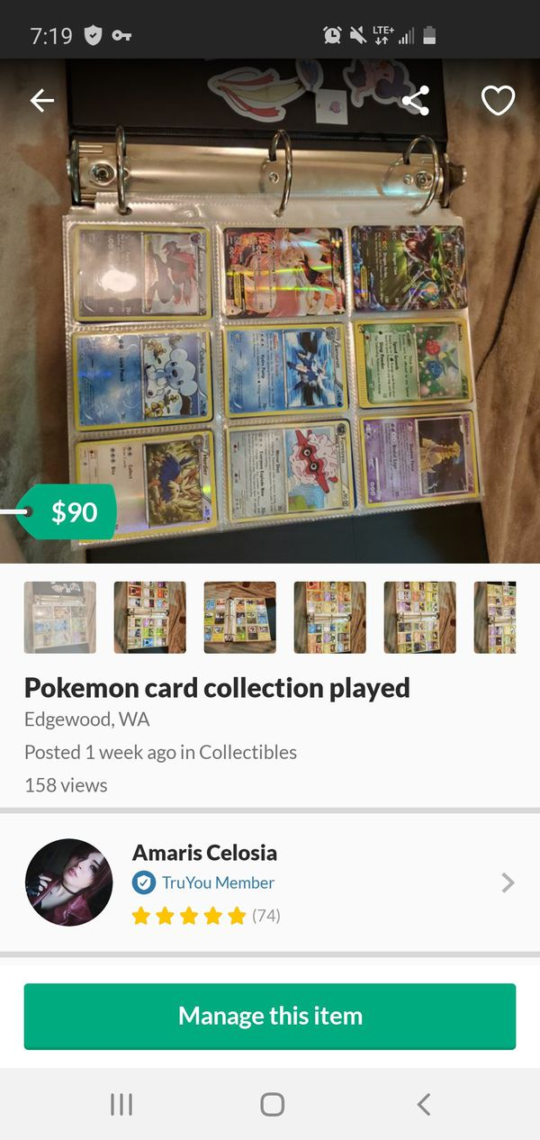 Pokemon card collection played
