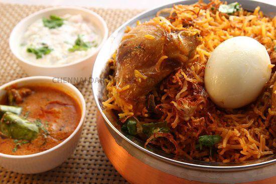 Halal chicken dum Biryani with mirchi ka salan ,raita and half boiled egg available sunday
