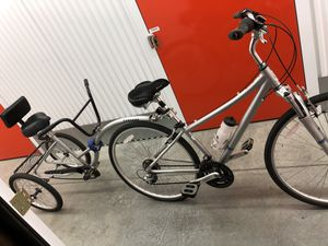 Raleigh 3.0 7-Speed Women's Bike with Morgan Caboose Trailer Bike For Special Needs Child/Adult for Sale in Deerfield, IL