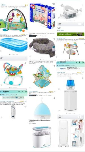 Baby jumpers, bouncers, bottle sterilizers, humidifiers, pregnant pillows, pool, trashcans for Sale in Dallas, TX