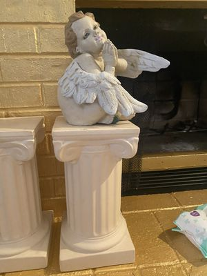 Vintage ceramic angel and pedestal statue more than 2ft high for Sale in Las Vegas, NV