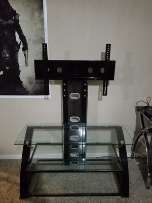 Glass and black steel TV stand. for Sale in Port Orchard, WA