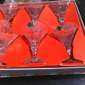 6 beautiful crystal glasses manufactured and Czechoslovakia and are around 76 years old! for Sale in Rancho Cucamonga, CA