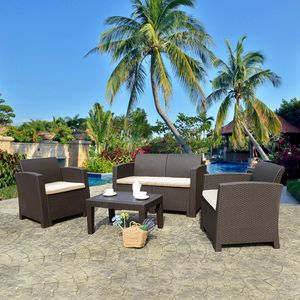 4 Pieces Patio Furniture Sets All Weather Outdoor Sectional Sofa Resin Plastic Wicker Pattern Patio for Sale in Atlanta, GA