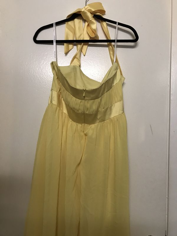 Yellow Evening Dress Size 14 (#021)