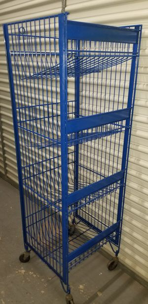 Rolling Industrial 4 bin shelf wire bakers rack orginizer 5 feet high by 2 feet wide for Sale in Pompano Beach, FL