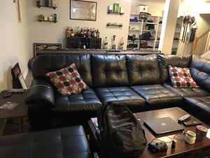 Black Sectional With Ottoman for Sale in Centreville, VA