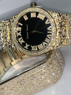 22k stainless steel Nugget and watch set created with lab diamonds for Sale in Las Vegas, NV