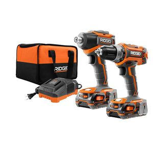 RIDGID 18-Volt Lithium-Ion Cordless Brushless Drill/Driver and Impact Driver Combo Kit w/(2) 1.5 Ah Batteries, Charger, and Bag for Sale in Temple, GA