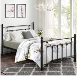 VECELO Queen Size Bed Frame, Metal Platform Mattress Foundation/Box Spring Replacement with Headboard Victorian Style for Sale in La Mirada,  CA