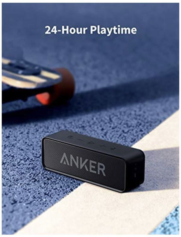 Anker Soundcore Bluetooth Speaker with Loud Stereo Sound, Rich Bass, 24-Hour Playtime, 66 ft Bluetooth Range, Built-in Mic. Perfect Portable Wireless