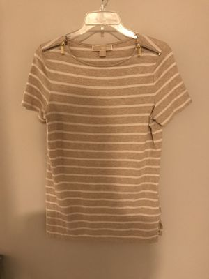 Michael Kors tan and white stripe t shirt for Sale in McDonald, PA