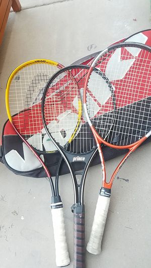 3 Tennis rackets with case and balls for Sale in Phoenix, AZ