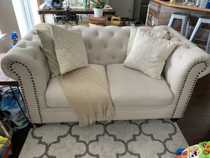 Chesterfield loveseat beige sofa for Sale in DuPont, WA