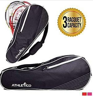 Athletico 3 Racquet Tennis Bag | Padded to Protect Rackets & Lightweight | Professional or Beginner Tennis Players | Unisex Design for Sale in Katy, TX